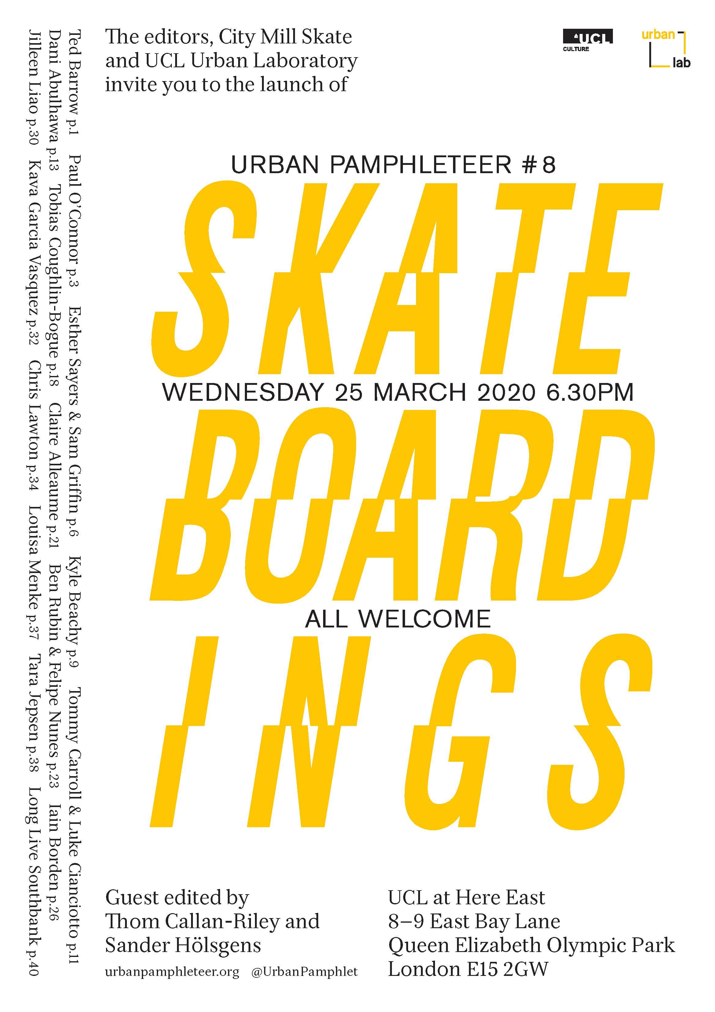 *POSTPONED* Urban Pamphleteer #8 launch: Skateboardings